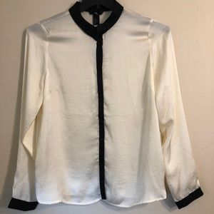 H&M white and black button up